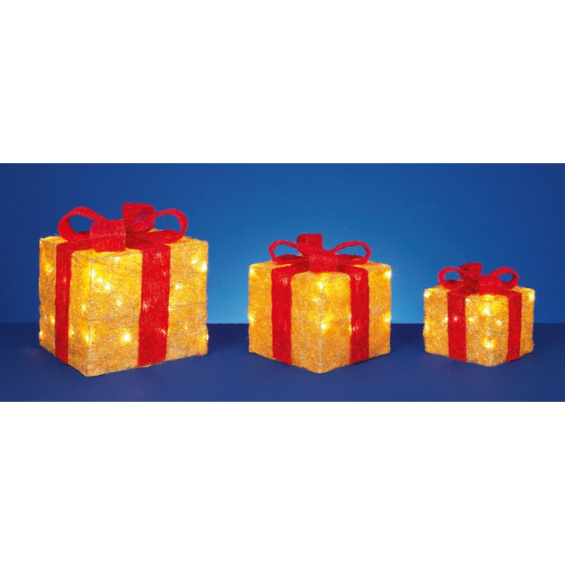 Premier 3 Piece Red bow glitter gold parcels, Christmas decorations, LED lights