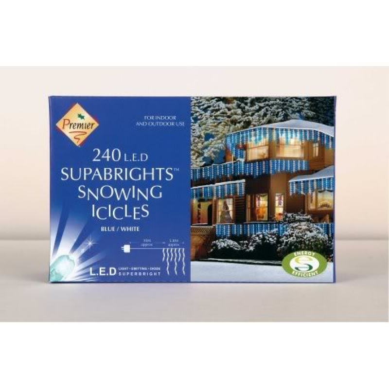 Premier 240 LED Snowing Icicles Supabrights in Blue and White, Christmas Light