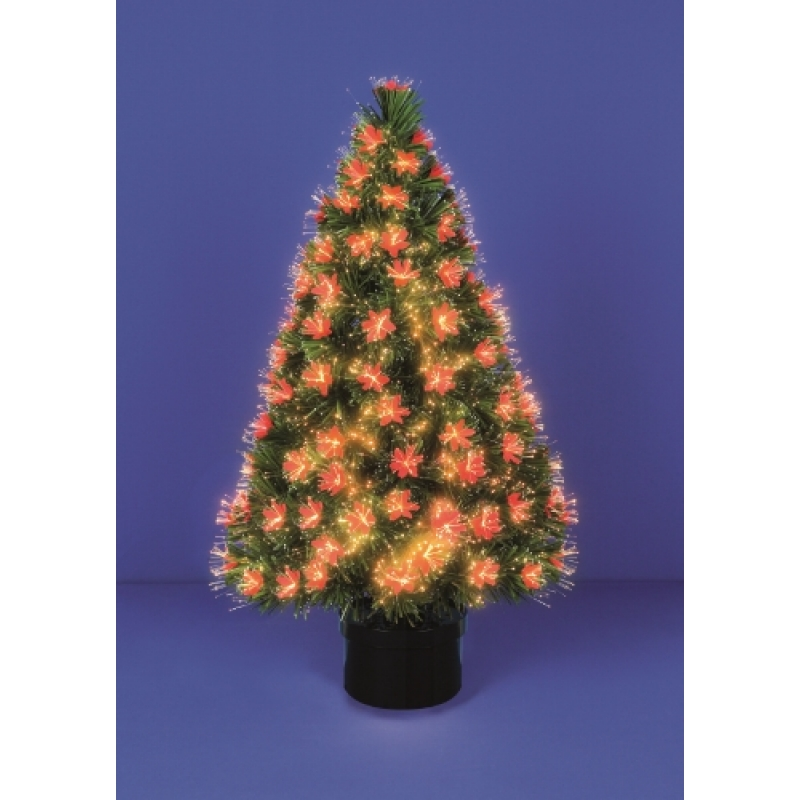 Premier FT87R Fibre Optic 80cm  Red Petal Christmas Tree