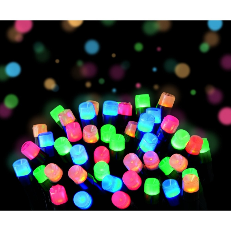 Premier LV102733M Multi-Action 200 LED Supabrights in Beautiful Frosted Multi Coloured