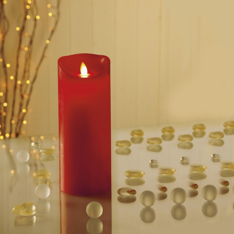 Beautiful 23cm Dancing Flame Candle in Red - FREE BATTERIES