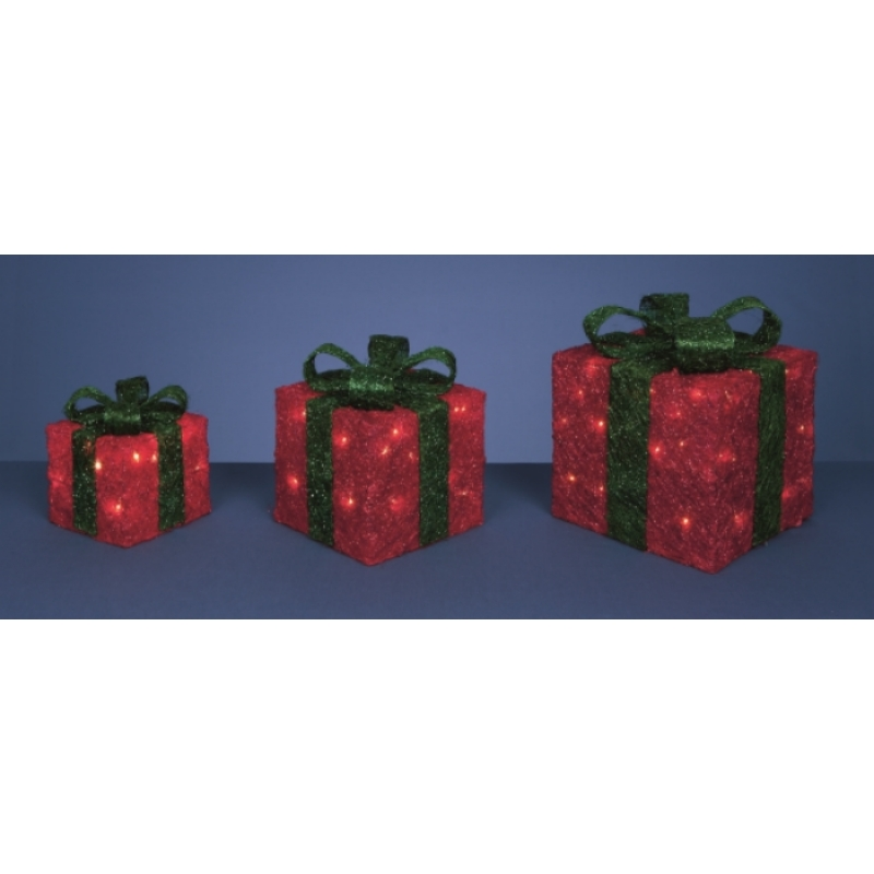 Premier 3 Piece Green bow red glitter parcels, Christmas decorations, LED lights