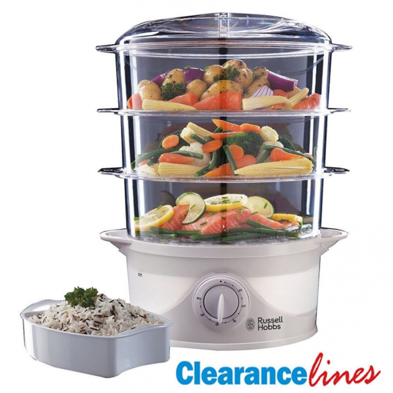 Russell Hobbs 3 Tier 9 Litre Food Vegetable Steamer Healthy 800W   21140,  White