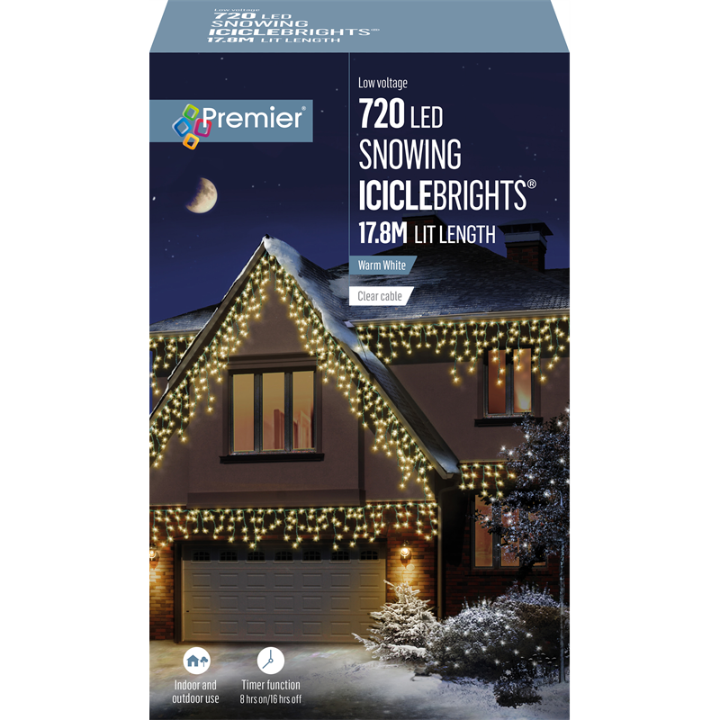 Premier 720 LED Snowing Icicles Warm White with Timer