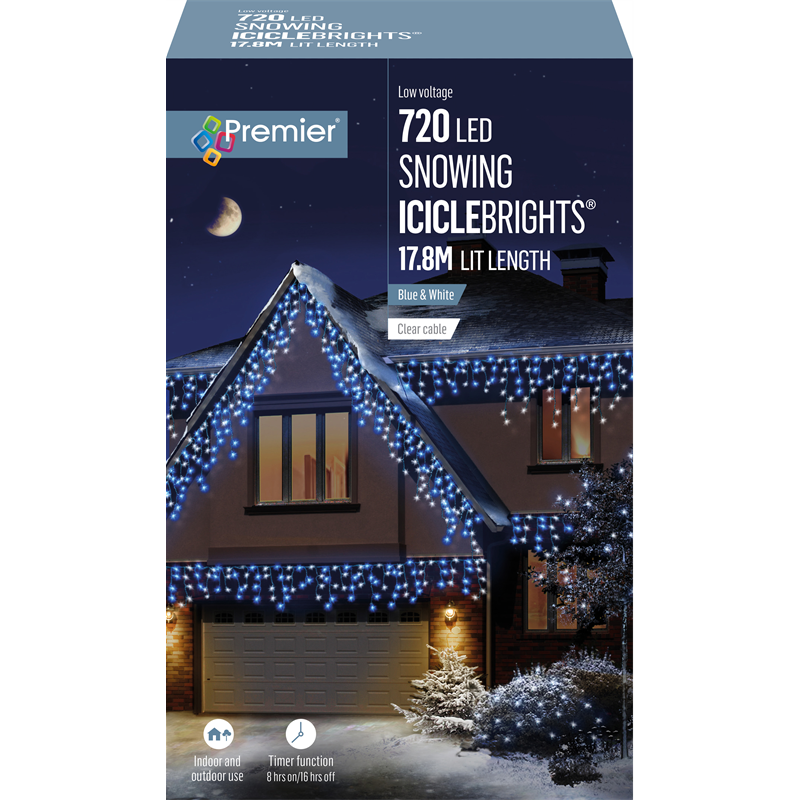 Premier 720 LED Snowing Icicles Blue & White with Timer
